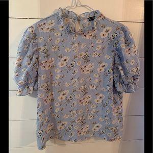 High neckline ruffled sleeve blouse
